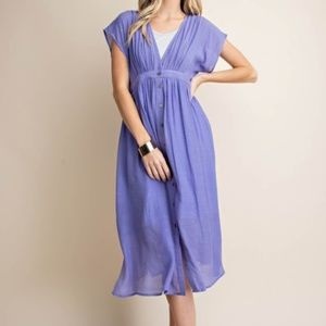 LOVELY LILAC BUTTON DOWN DRESS
